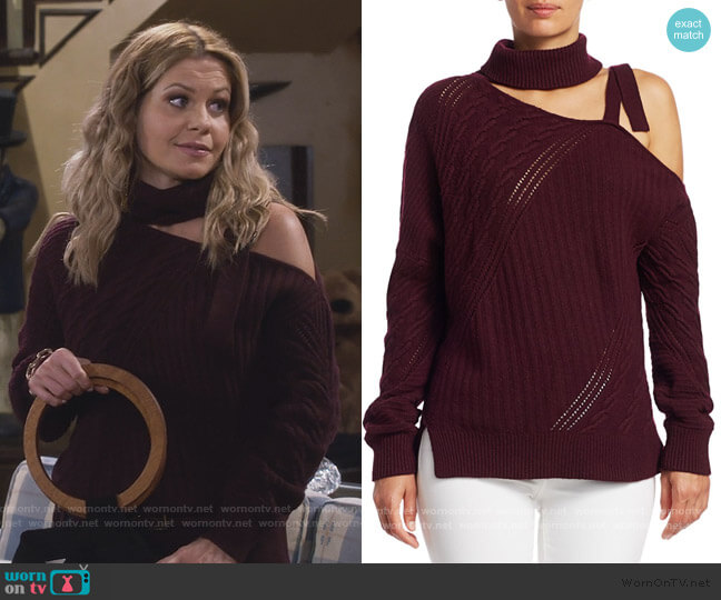 Strapped Wool Asymmetric Sweater by Jonathan Simnkhai worn by DJ Tanner-Fuller (Candace Cameron Bure) on Fuller House