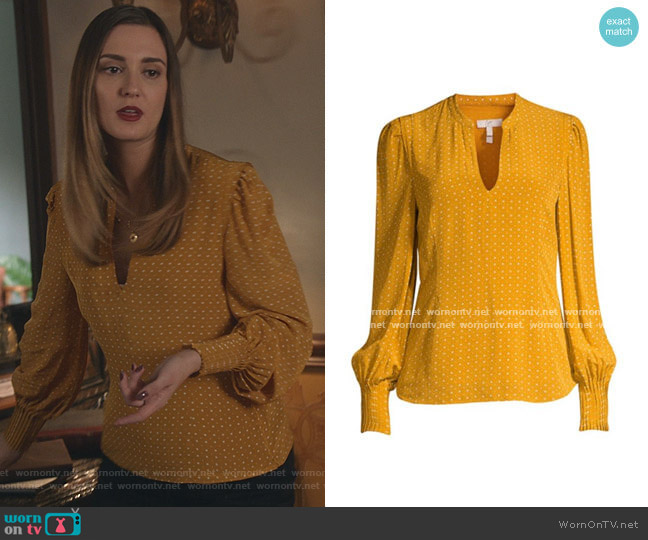 Korina Blouse in Dusty Gold by Joie worn by Joy Harper (Katherine Barrell) on Good Witch