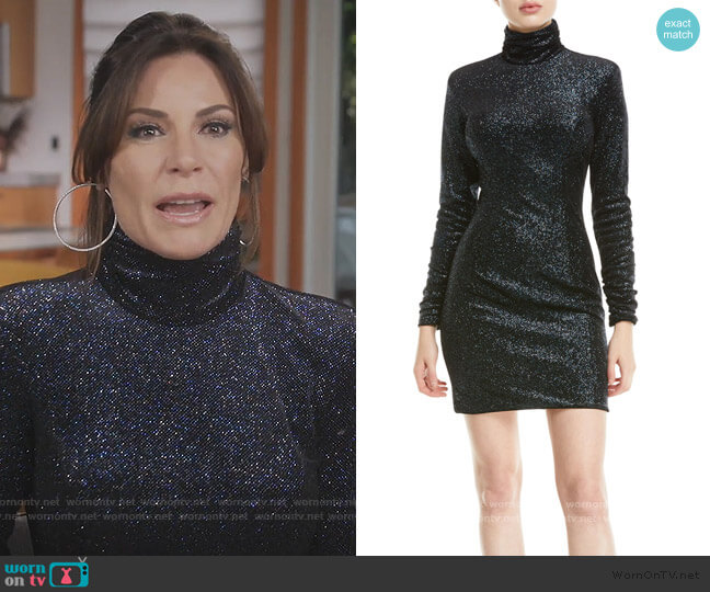 Metallic Knit Turtleneck Dress by Jovani worn by Luann de Lesseps  on The Real Housewives of New York City