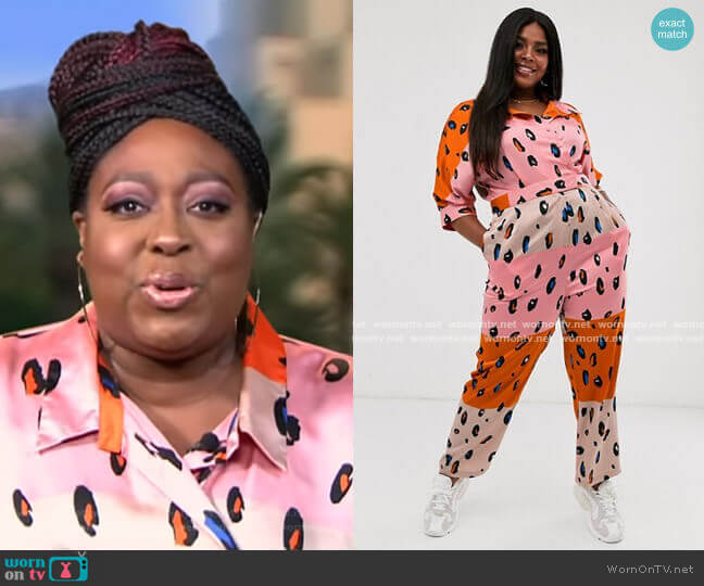 Jumpsuit with Belt in Contrasting Leopard Print by Liquorish at Asos worn by Loni Love on The View