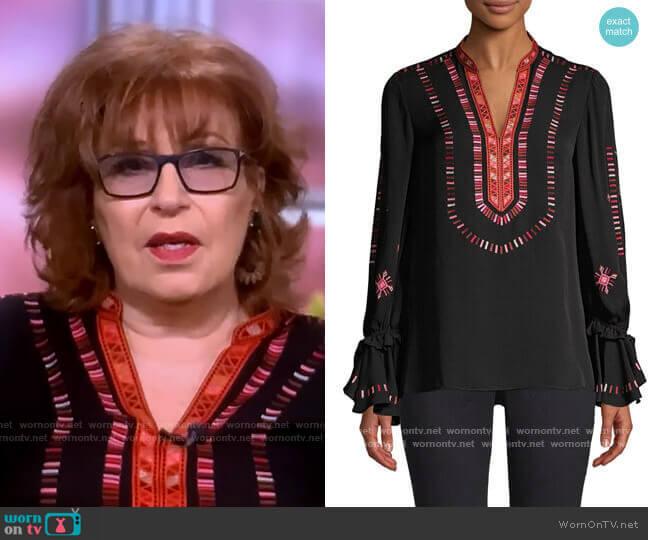 Junie Embroidered Silk Blouse by Kobi Halperin worn by Joy Behar  on The View