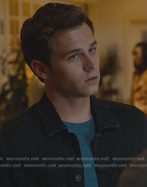 Justin's black denim jacket on 13 Reasons Why
