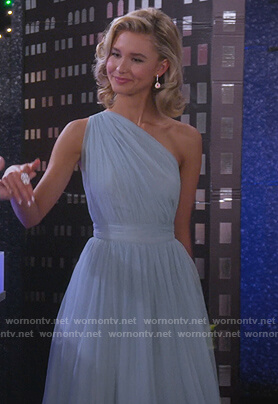Katie's blue tulle one shoulder dress on Alexa & Katie
