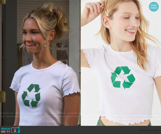 Truly Madly Deeply Recycle Lettuce Edge Cropped Tee by Urban Outfitters worn by Katie Cooper (Isabel May) on Alexa & Katie