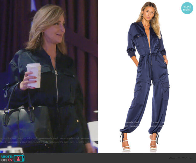 Satin Convertible Cargo Jumpsuit by Kendall + Kylie worn by Sonja Morgan  on The Real Housewives of New York City