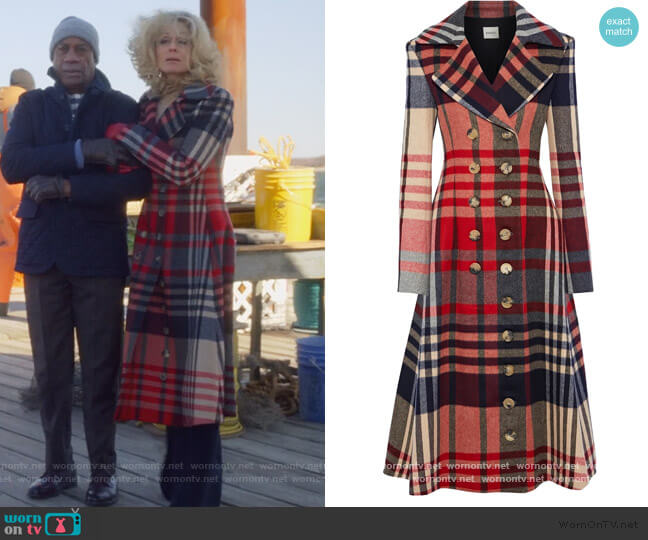 Christina Double Breasted Coat by Khaite worn by Dede Standish (Judith Light) on The Politician