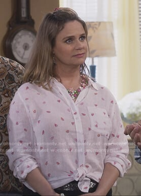 Kimmy white watermelon print shirt on Fuller House