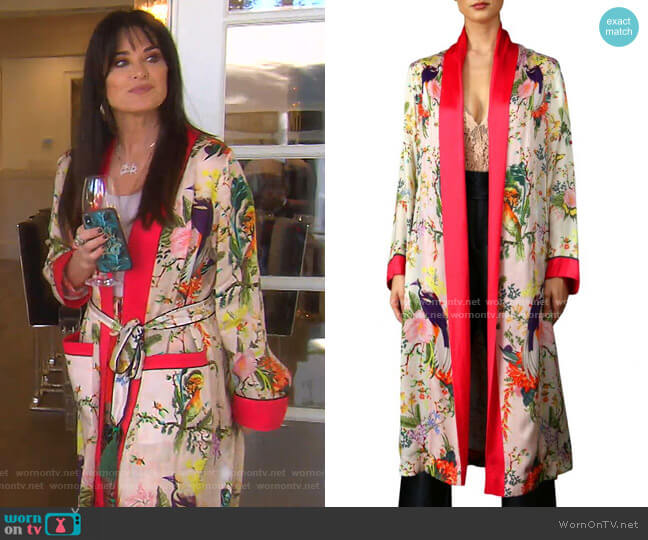 Luxurious Teddi Robe In Floral Print by  Kyle x Shahida worn by Kyle Richards  on The Real Housewives of Beverly Hills