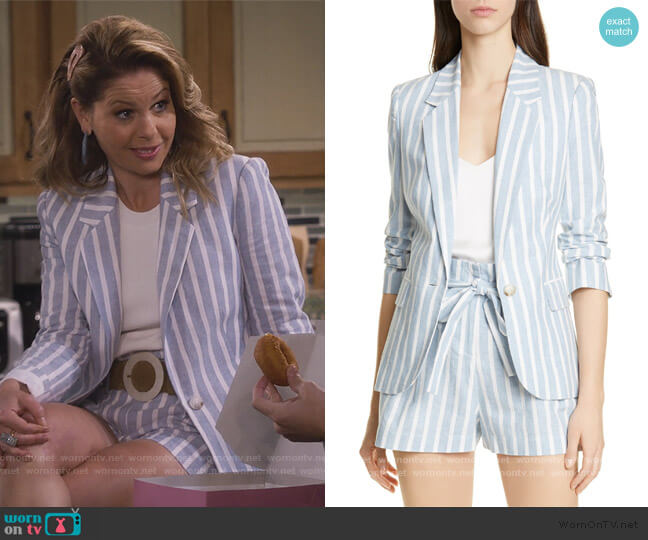 Scout Stripe Blazer and Shorts by L'Agence worn by DJ Tanner-Fuller (Candace Cameron Bure) on Fuller House