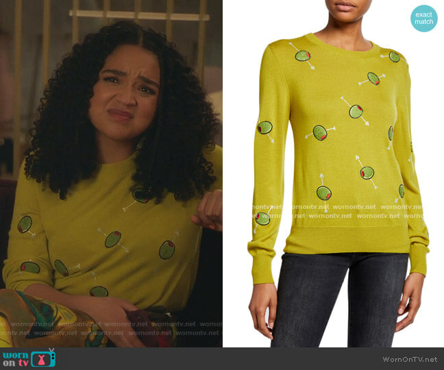 Cocktail Olives Crewneck Cashmere Sweater by Libertine worn by Kat Edison (Aisha Dee) on The Bold Type