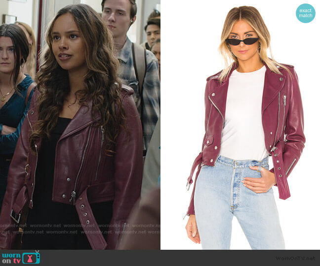 Mya Cropped Biker Jacket by LTH JKT worn by Jessica Davis (Alisha Boe) on 13 Reasons Why
