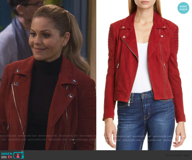 Ryder Suede Moto Jacket by L'Agence worn by Stephanie Tanner (Jodie Sweetin) on Fuller House