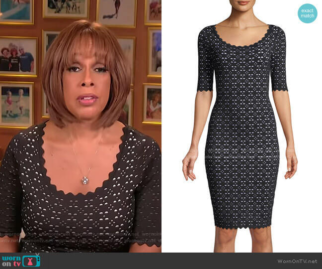 Scalloped Laser-Cut Ponte Dress by Milly worn by Gayle King  on CBS This Morning
