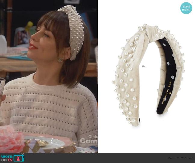 Pearl & Velvet Headband by Lele Sadoughi worn by Elizabeth (Natasha Leggero) on Broke