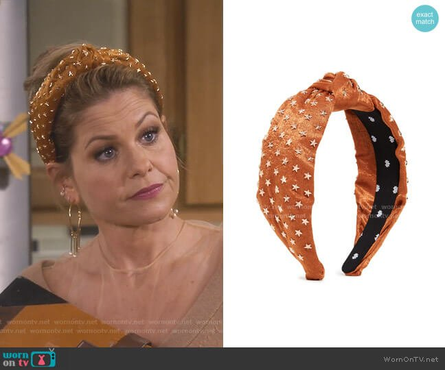 Star Studded Silk Knotted Headband by Lele Sadoughi worn by DJ Tanner-Fuller (Candace Cameron Bure) on Fuller House