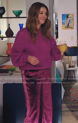 Lola's purple chunky sweater and velvet pants on Love Life