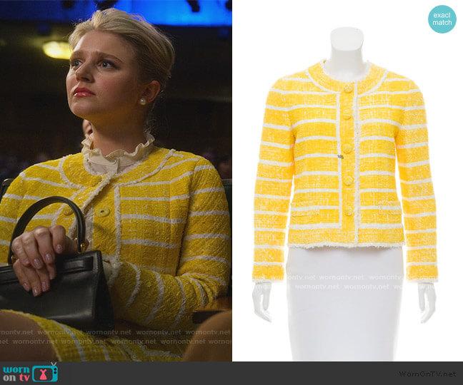 Yellow Tweed Stripe Blazer by Marc Jacobs worn by Alice (Julia Schlaepfer) on The Politician