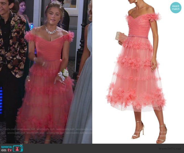 Off-the-shoulder floral-appliquéd pleated tulle gown by Marchesa Notte worn by Gwenny (Kerri Medders) on Alexa & Katie