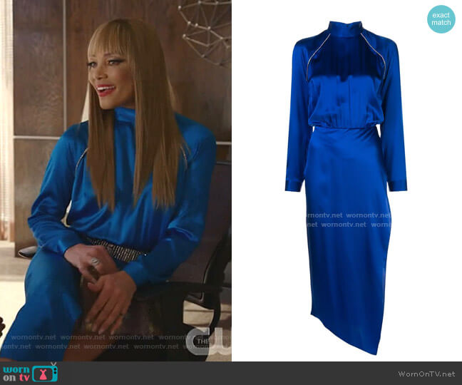 Embellished High-Neck Dress by Michelle Mason  worn by Dominique Deveraux (Michael Michele) on Dynasty