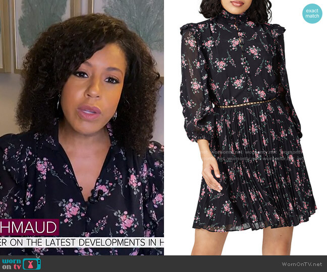 Floral Pleated Dress by ML Monique Lhuillier worn by Sheinelle Jones  on Today