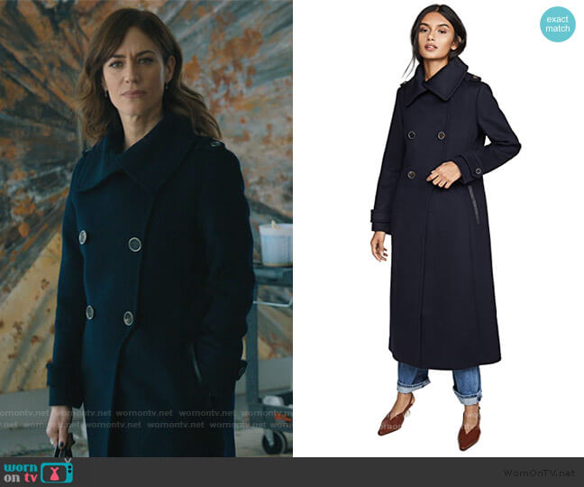 Elodie Coat by Mackage worn by Wendy Rhoades (Maggie Siff) on Billions