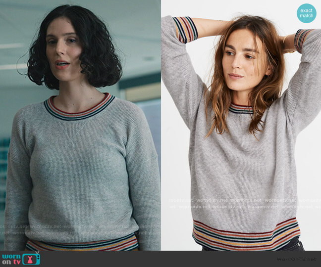 Rainbow-Trim Cashmere Sweatshirt by Madewell worn by Eva Victor on Billions