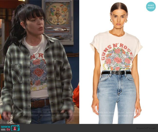 Guns N Roses Use Your Illusion Crew Tee by Madeworn worn by Jackie (Pauley Perrette) on Broke