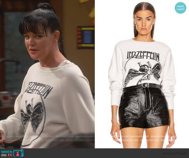 Led Zeppelin Faded Crew Fleece Sweatshirt by Madeworn worn by Jackie (Pauley Perrette) on Broke