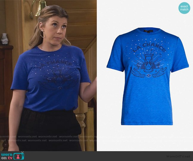 Talia embellished-print jersey T-shirt by Maje worn by Stephanie Tanner (Jodie Sweetin) on Fuller House