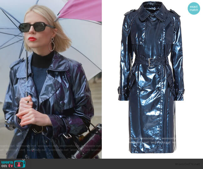 Metallic Vinyl Trench Coat by Marc Jacobs worn by Astrid (Lucy Boynton) on The Politician