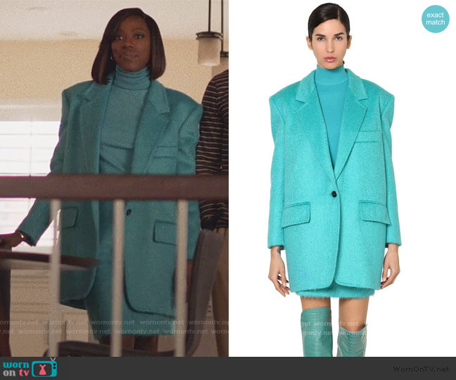 Virgin Wool Knit Turtleneck Sweater Jacket and Skirt by Max Mara worn by Molly Carter (Yvonne Orji) on Insecure