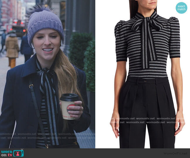 Striped Cashmere Knit Puff-Sleeve Bow Blouse by Michael Kors worn by Darby (Anna Kendrick) on Love Life