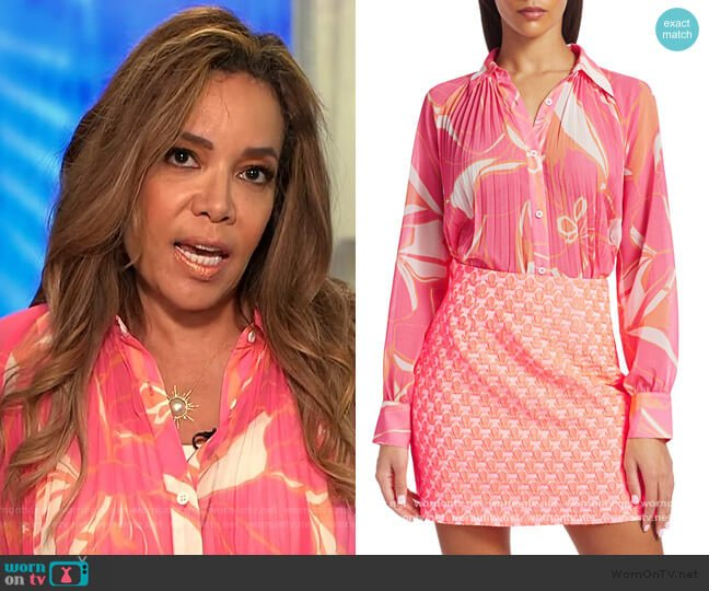 Pleated Stencil Floral Shirt by Milly worn by Sunny Hostin  on The View