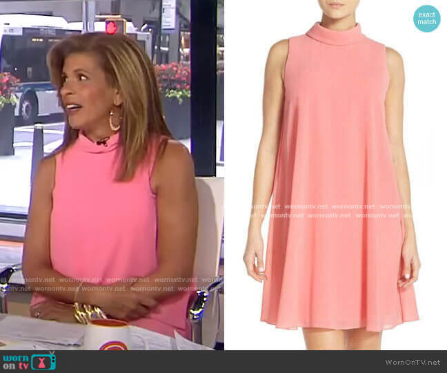 Mock Neck Chiffon Trapeze Dress by Vince Camuto worn by Hoda Kotb  on Today