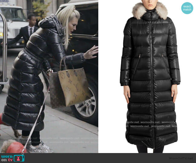 Hudson Long Quilted Down Coat with Genuine Fox Fur Trim Moncler worn by Tinsley Mortimer  on The Real Housewives of New York City