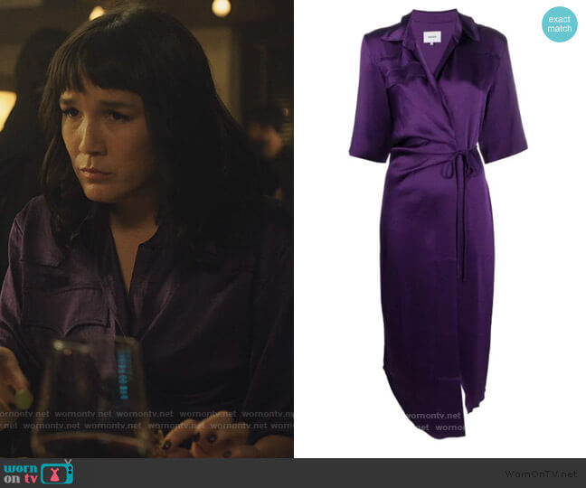 Lais satin draped shirt dress by Nanushka worn by Sara (Zoe Chao) on Love Life
