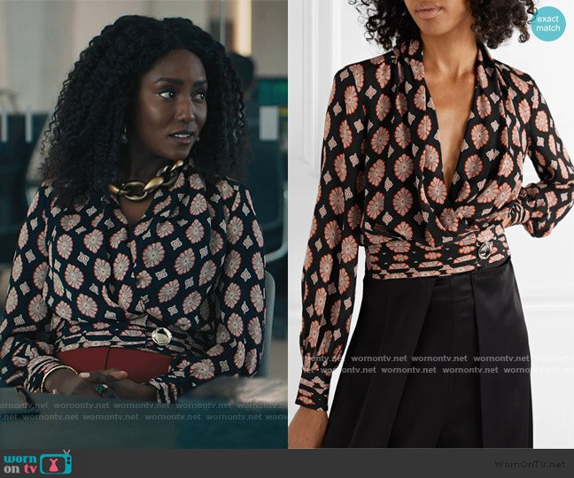 Shaila Wrap Top by Nicholas worn by Lauren Turner (Jade Eshete) on Billions