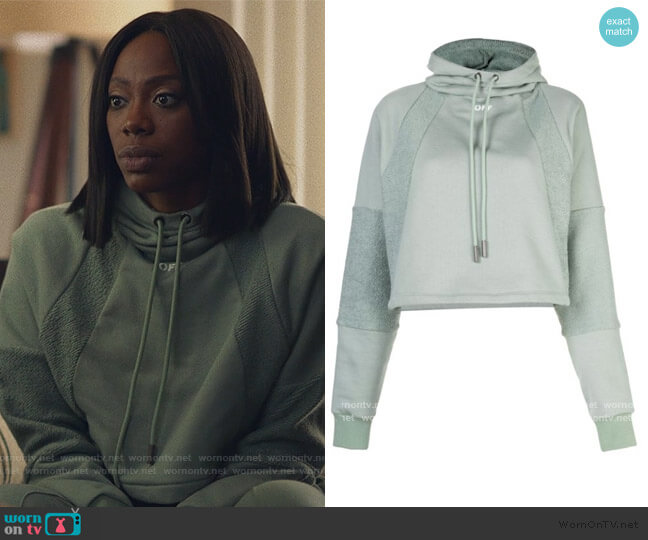 Cropped Drawstring Hoodie by Off-White worn by Molly Carter (Yvonne Orji) on Insecure