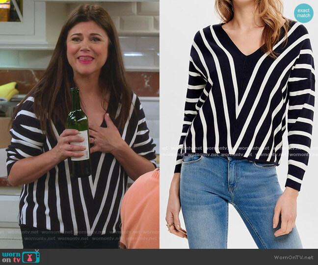 Vertical Stripe Wide V Neck Sweater by Only worn by Lori Mendoza (Tiffani Thiessen) on Alexa & Katie