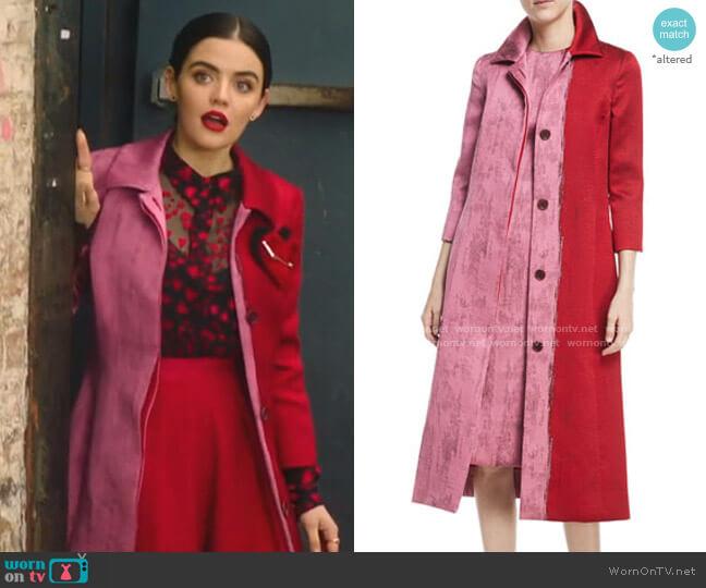 Colorblock Jacquard A-Line Coat by Oscar de la Renta worn by Katy Keene (Lucy Hale) on Katy Keene
