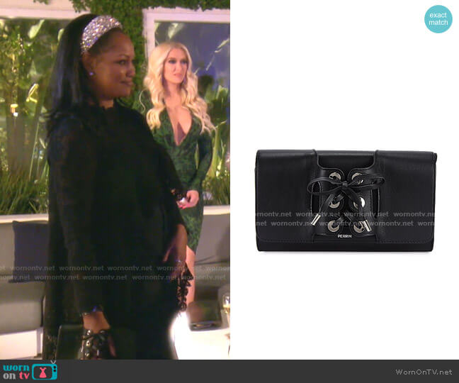 Le Corset Grained Leather Clutch by Perrin Paris worn by Garcelle Beauvais  on The Real Housewives of Beverly Hills