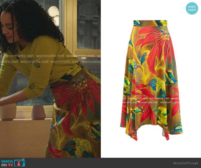 Tropical-print Silk-blend Cloqué Midi Skirt by Peter Pilotto worn by Kat Edison (Aisha Dee) on The Bold Type