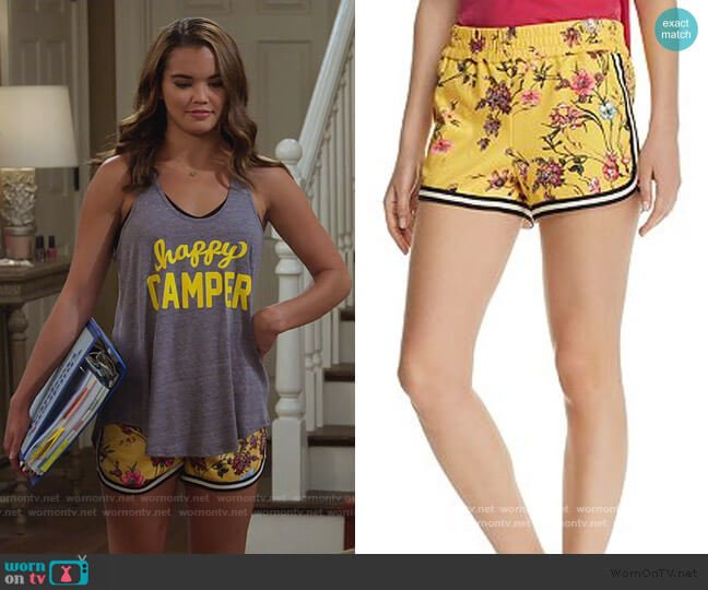 Floral Dolphin Shorts by Pam & Gela worn by Alexa Mendoza (Paris Berelc) on Alexa & Katie