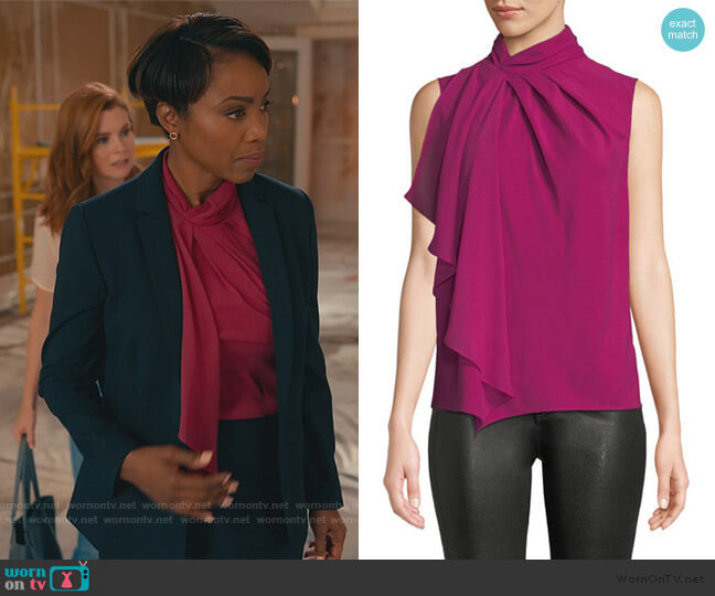 Megan High-Neck Flounce Sleeveless Top by Parker worn by Helen Decatur (Heather Headley) on Sweet Magnolias