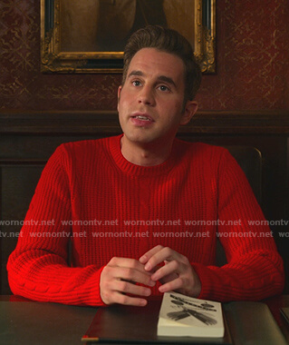Payton's red cable knit sweater on The Politician