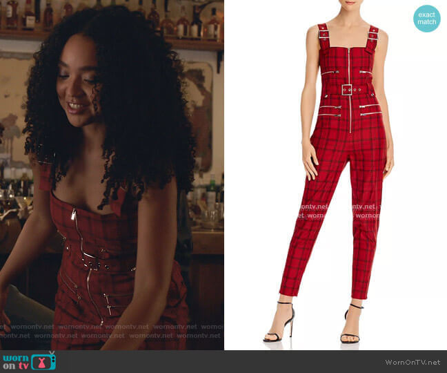 Plaid Moto Jumpsuit by WeWoreWhat worn by Kat Edison (Aisha Dee) on The Bold Type