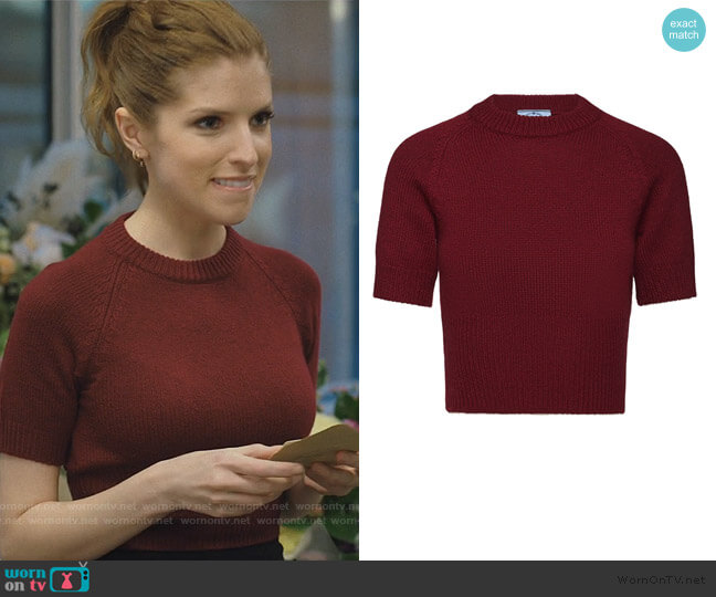 Cropped Knit Tee by Prada worn by Darby (Anna Kendrick) on Love Life