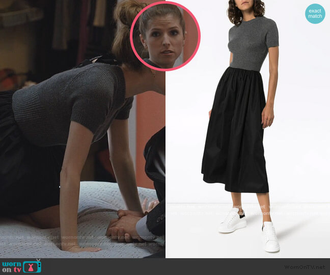 knitted top flared midi-dress by Prada worn by Darby (Anna Kendrick) on Love Life