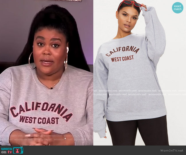 Plus California Slogan Oversized Sweater by Pretty Little Thing worn by Nina Parker  on E! News