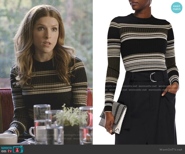 Striped Ribbed Wool-Blend Sweater by Proenza Schouler worn by Darby (Anna Kendrick) on Love Life